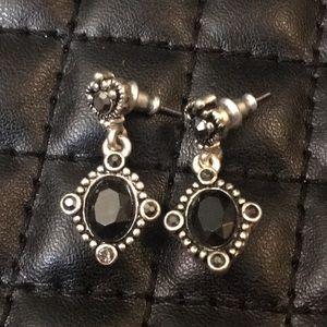 Free People Boho Silver Onyx Marcasite Earrings